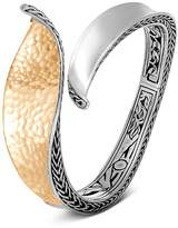 John Hardy Sterling Silver & 18K Bonded Gold Classic Chain Hammered Hinged Bangle