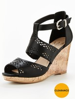Wallis Slice Cutout Detail Wedge Sandal - Black