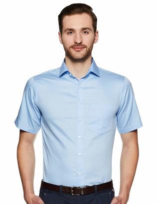 Shaftesbury London Men's Slim Fit Short Sleeves Spread Collar Dress Shirt 16.5 Blue