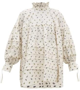 Cecilie Bahnsen Alberte Floral-jacquard Cotton Blouse - Womens - Ivory Multi