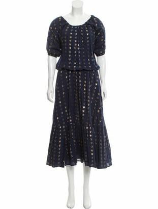 Rhode Resort Polka Dot Print Long Dress Blue Polka Dot Print Long Dress