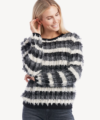 Vince Camuto Women's Striped Fringe Sweater In Color: Antique White Size XS From Sole Society