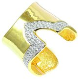 Kenneth Jay Lane Crystal & Polished V Shaped Cuff Bangle