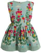 Little Green Radicals ZGREEN PARADISE BIRDS GATHERED DRESS Summer dress turquoise