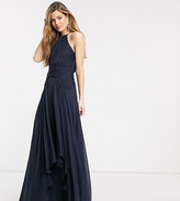Asos Tall DESIGN Tall Bridesmaid pinny maxi dress with ruched bodice and layered skirt detail