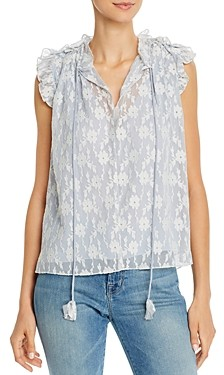 Rebecca Taylor Tie-Front Embroidered Lace Top