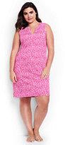 Classic Women's Plus Size Cotton Sleeveless Dress Cover-up-Light Fuchsia Bandana Paisley