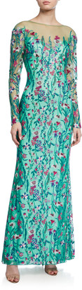 Tadashi Shoji Long-Sleeve Embroidered Floral Lace Column Gown