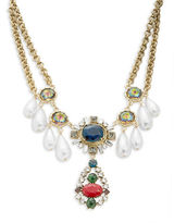 Gerard Yosca Gem Cluster Faux Pearl Necklace