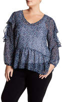 Halogen Ruffle Cold Shoulder Blouse (Plus Size)