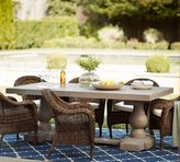 Pottery Barn Scarlett Concrete Rectangular Dining Table & Torrey Roll-Arm Chair Set - Espresso