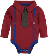 Andy & Evan Suspenders Polo Shirtzie (Baby) - Maroon/Blue-0-3 Months