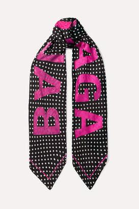 Balenciaga Polka-dot Silk-jacquard Scarf - Black