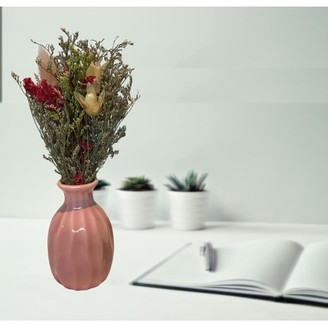 Creative Motion Handmade Dry Flowers with Ceramic Vase (Pink Vase);Product Size: 7.5x3.5x3.5 (vase size: 3x1.5x1.5). Accent any office home shop no water needed wedding party event