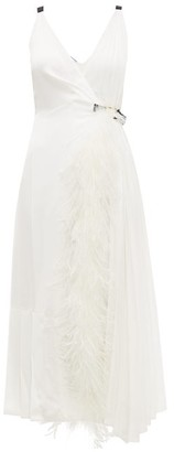 Prada Feather-trimmed Pleated Wrap Dress - Womens - White Multi