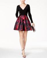 Xscape Evenings Petite V-Neck Floral Fit & Flare Dress
