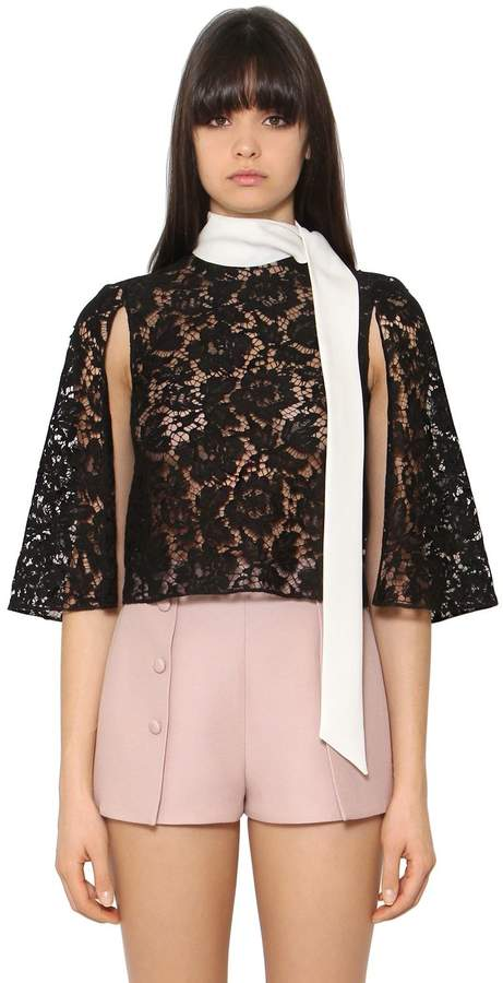 Valentino Heavy Lace & Cady Cropped Cape Top