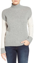 Halogen Colorblock Mock Neck Cashmere Sweater