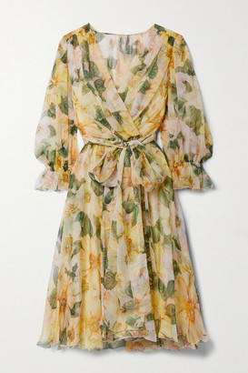 Dolce & Gabbana Wrap-effect Belted Floral-print Silk-chiffon Dress - Yellow