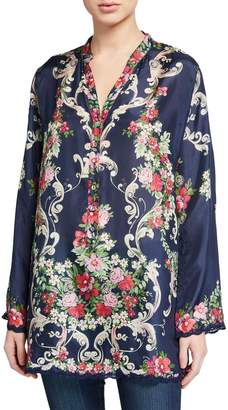 Johnny Was Hadley Floral V-Neck Long-Sleeve Silk Tunic
