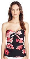 Calvin Klein Women's Watermelon Orchid Twist Bandeau Tankini with Tummy Control