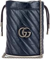 Gucci Leather Torchon Chain Bucket Bag in Blue Agata & Mystic White | FWRD