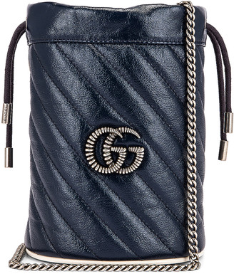 Gucci Leather Torchon Chain Bucket Bag in Blue Agata & Mystic White | FWRD