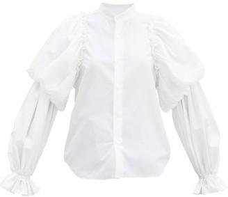 Noir Kei Ninomiya Gathered Balloon-sleeve Cotton-poplin Shirt - White