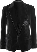 Dolce & Gabbana - Grey Embroidered Stretch-velvet Blazer
