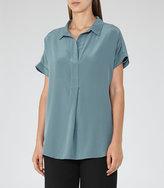 Reiss Palma Open Collar Silk Shirt