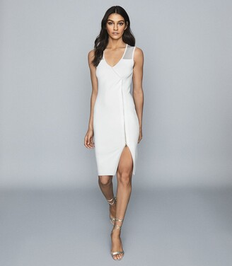 Reiss Alessia - Knitted Midi Dress in White
