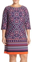Eliza J Border Print Jersey Shift Dress (Plus Size)