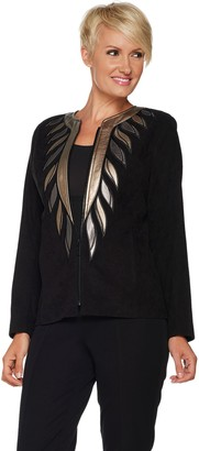 Bob Mackie Faux Leather Trim Zip Front Jacket