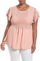 Melissa McCarthy Tiered Sleeve Tie Waist Pintuck Blouse (Plus Size)