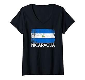 Womens Nicaraguan Flag | Vintage Made In Nicaragua Gift V-Neck T-Shirt