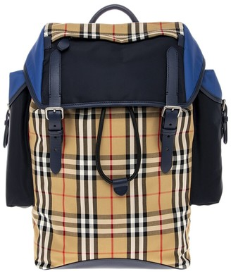 Burberry Color Block Vintage Check & Leather Backpack