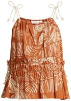 See by Chloe Scoop-neck jungle-print cotton-blend top