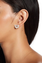 Argentovivo Sterling Silver CZ & Simulated Pearl Cluster Stud Earrings
