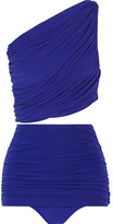 Norma Kamali Ruched One-shoulder Bikini - Royal blue