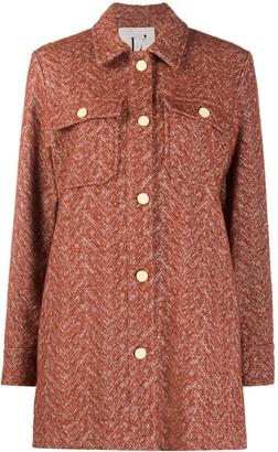 L'Autre Chose Two-Tone Herringbone Coat