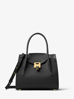 Michael Kors Bancroft Medium Pebbled Calf Leather Satchel
