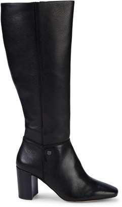 Karl Lagerfeld Paris Ratana Stack-Heel Tall Leather Boots