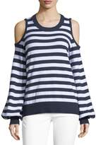 MICHAEL Michael Kors Striped Cold-Shoulder Sweater