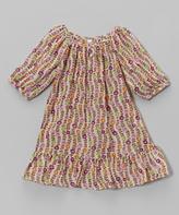 Mulberribush Ivory Floral Chiffon Ruffle Peasant Dress - Toddler & Girls