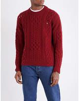 Kent & Curwen Linton Destroyed Aran-knit Wool Jumper