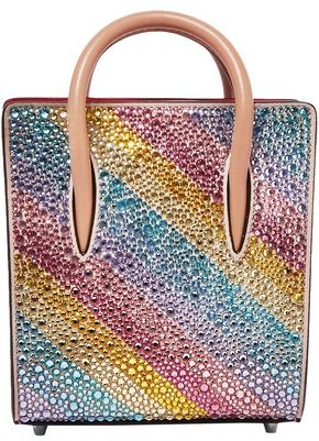 Christian Louboutin Paloma Nano Embellished Suede And Embossed Metallic Leather Shoulder Bag