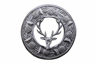TC Stag Head and Scrolling Thistle Design Round Chrome Finish Brooch With Pin and Hook
