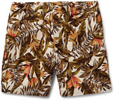 Neighborhood - Wide-leg Printed Cotton And Linen-blend Shorts