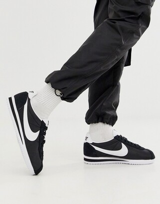 Nike black and white classic Cortez nylon trainers