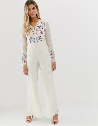 Frock and Frill button front wide leg jumpsuit in bird and sequin embroidery in cream